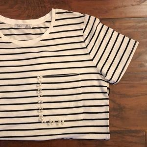 DEX striped shirt with pearl accent on pocket
